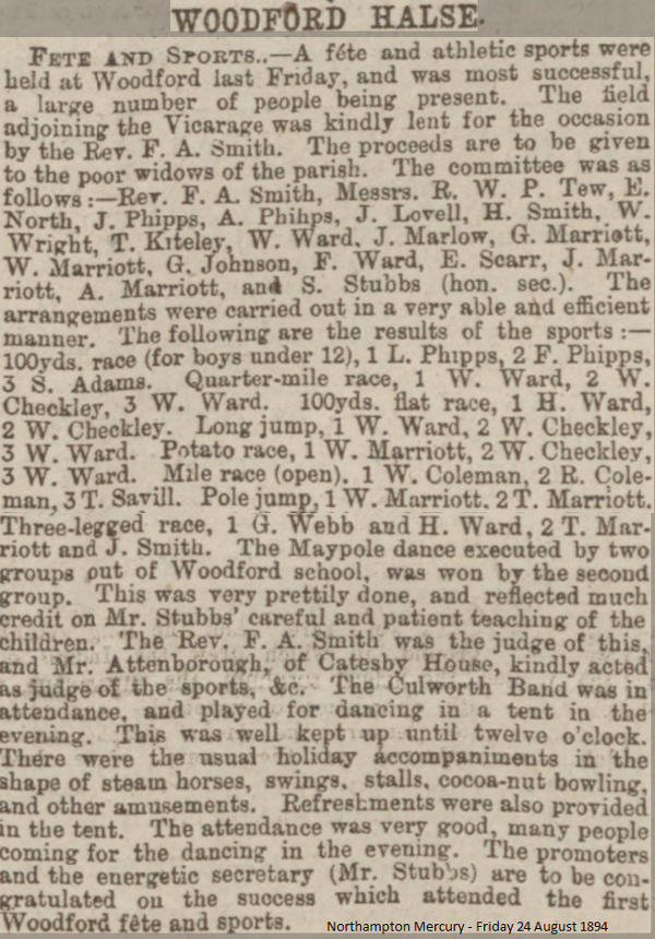Newspaper clipping from the Northampton Mercury 24th August 1894. Woodford Fete and Sports.
