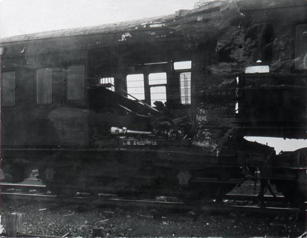 Damaged Slip Coach, after it crashed into the rear of its parent train.