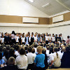 Thumbnail: School leavers in the new school hall in 2005.