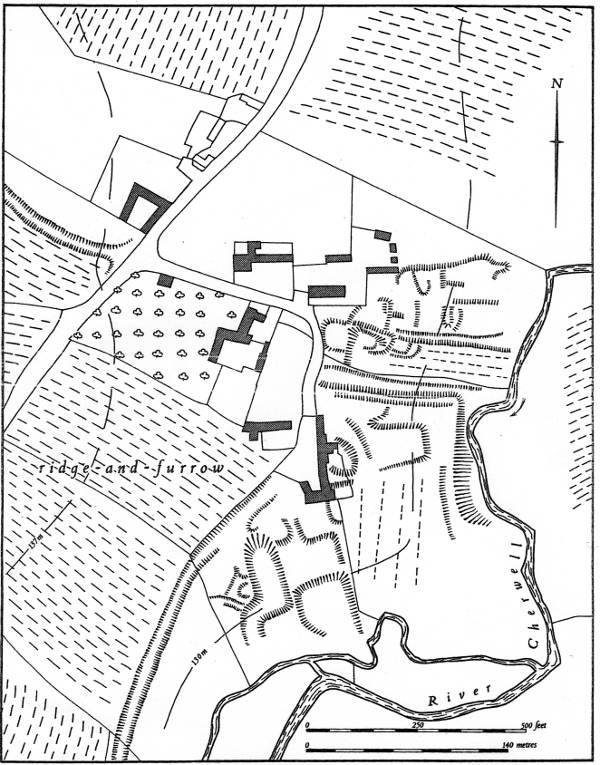 Ridge and Furrow Map of West Farndon also showing river Cherwell