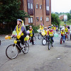Thumbnail: Woodford Halse School Cycle train 2003 riding along Station Road in front of the Winston Flats.