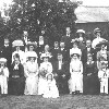 Thumbnail: Wedding party of Bessie (Nee Carvell) and Bert Hollis with Emma Carvell and Thomas Reuben Howes in attendance.