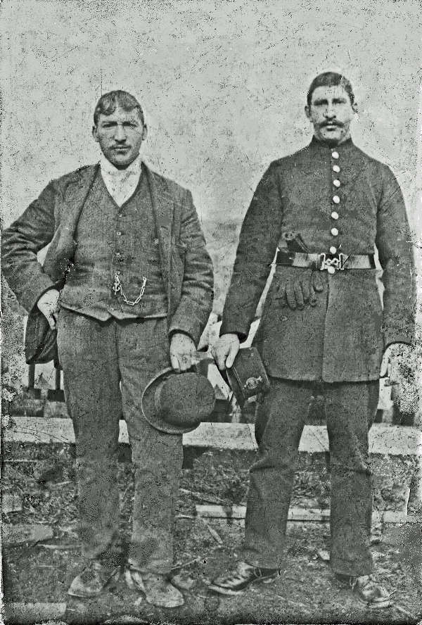 Charles Ringham (right) [Grandad Charlie] in his police uniform, the other man is not known.
