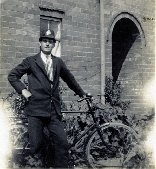 Percy Ward circa 1935 with his bicycle