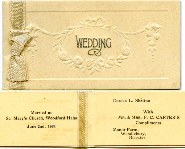 Dorcas Shelton and Fred Carter Wedding Invitation, at St Mary's Church