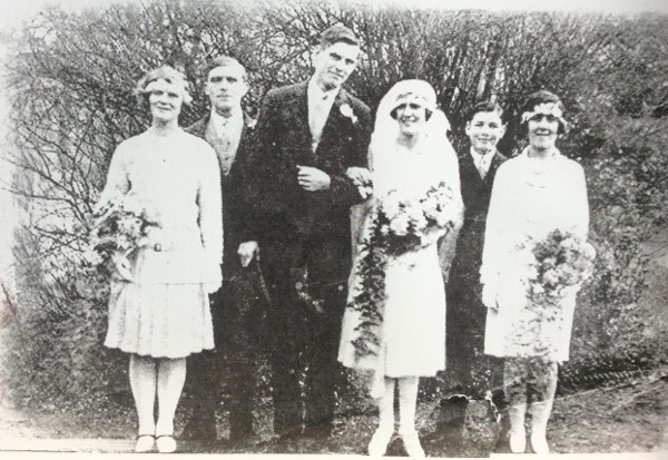 The wedding of Herbert & Gertrude in 1929. The lady on the right is the brides' sister Francis Everard.