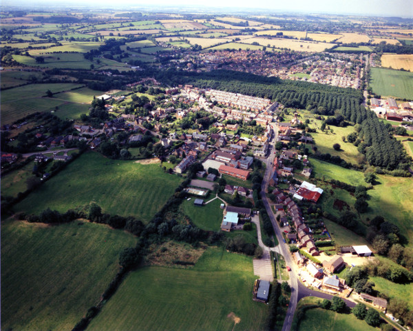 Aerial view over Woodford Halse